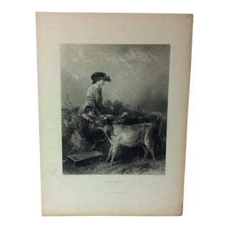 "Antique Print on Paper, ""In the Pasture"" by C. Cousen, Circa 1880 For Sale"