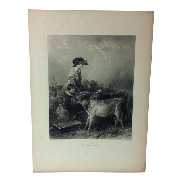 """Antique Print on Paper, """"In the Pasture"""" by C. Cousen, Circa 1880 For Sale"""
