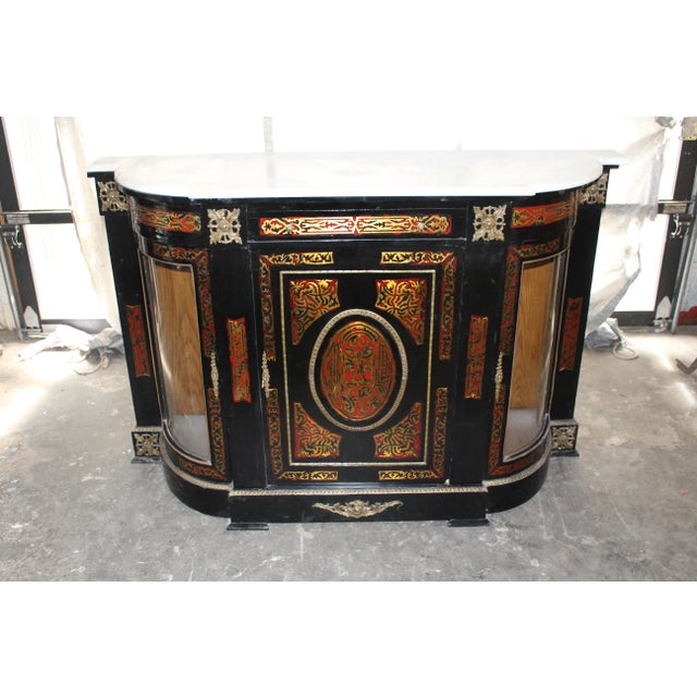 Early 20th Century 20th Century Louis XVI Boulle Glass Door Cabinet With Marble Top For Sale - Image 5 of 9