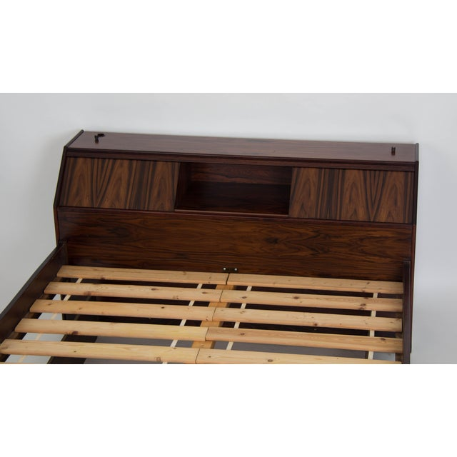 Pine Westnofa Rosewood Bed Frame with Headboard Storage For Sale - Image 7 of 7