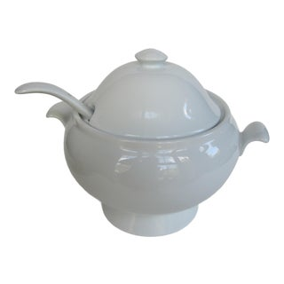 Pottery Barn Great White Soup Tureen and Spoon For Sale