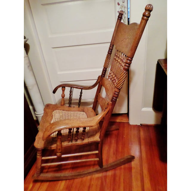 Traditional Late 20th Century Antique Golden Oak Rocking Chair For Sale - Image 3 of 13