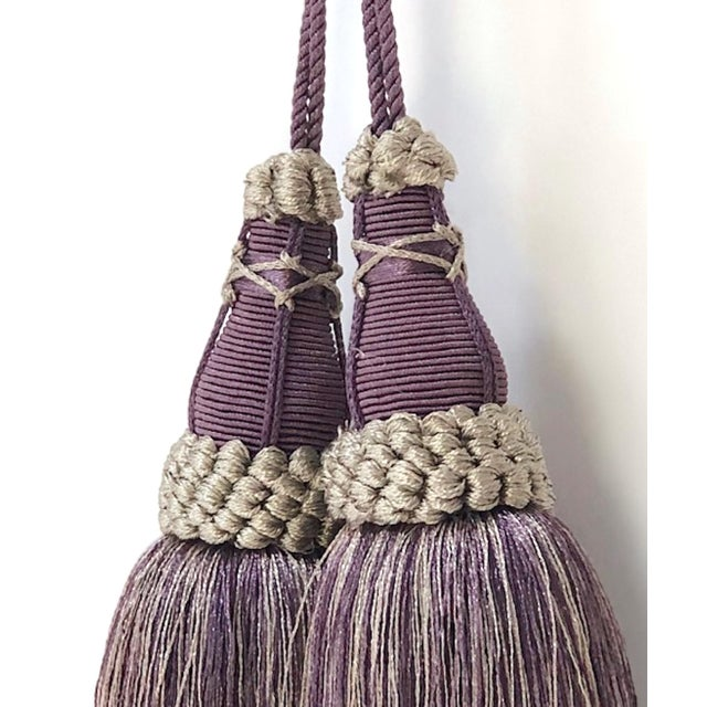 Textile Key Tassels in Amethyst and Gray With Ruche Trim - a Pair For Sale - Image 7 of 12