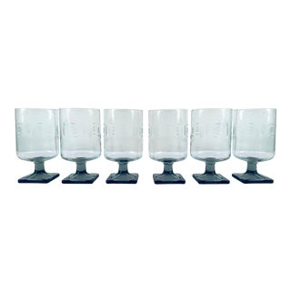 Vintage Stemed Smokey and Frosted Glassware - Set of 6 For Sale