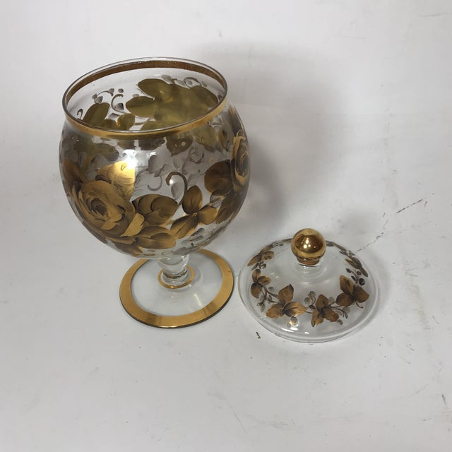 Hand Painted Crystal Jar & Vase For Sale In Miami - Image 6 of 7