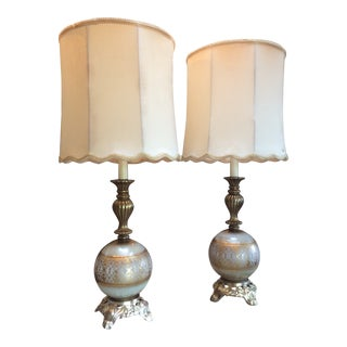 Hollywood Regency Spelt Table Lamps With Original Silk Shades - a Pair For Sale