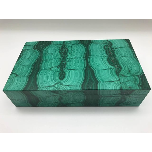 Very Large Malachite Box with Hinged Lid For Sale - Image 4 of 10
