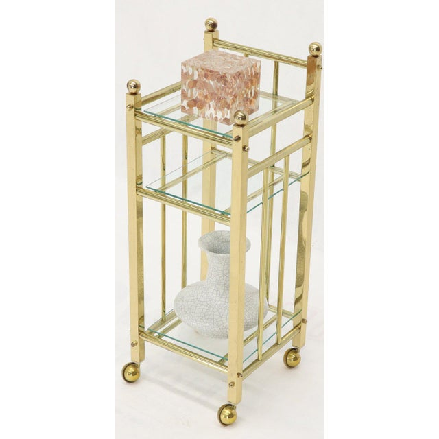 Mid-Century Modern solid brass portable telephone stand bar tea cart etc, unlimited use options.