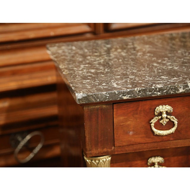 Black Marble 19th Century French Empire Walnut With Black Marble Top Four-Drawer Commode For Sale - Image 7 of 10
