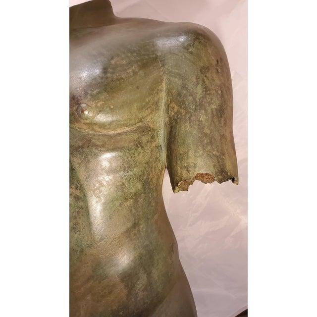 Antique Italian Bronze Life Size Torso W/Stone Base For Sale - Image 9 of 13
