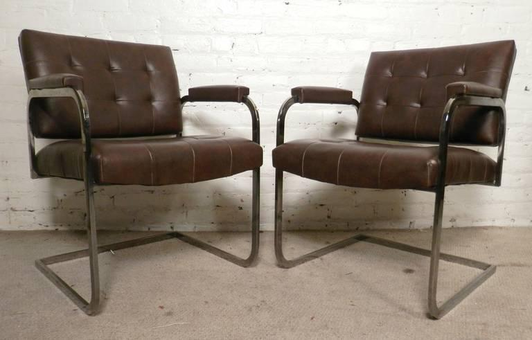 Attrayant Four Chrome Frame Armchairs Made By Patrician Furniture In High Point,  North Carolina. Great
