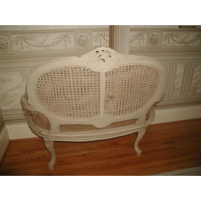 French 19th C. Hand Carved & Caned Settee - Image 7 of 10