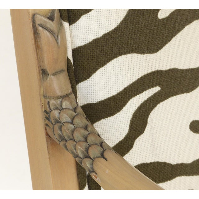1980s Vintage Blond Wood & Zebra Print Upholstery & Dolphin Carved Armchairs- a Pair For Sale - Image 9 of 12