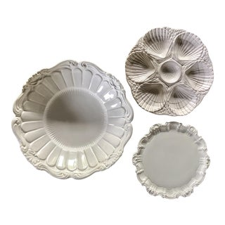Italian White Serving Dishes, Set of 3 For Sale
