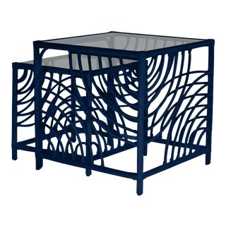 Swirl Nesting Tables - Navy Blue For Sale