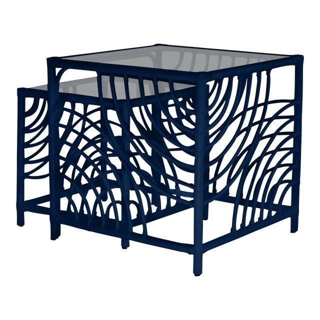 Swirl Nesting Tables - Navy Blue For Sale