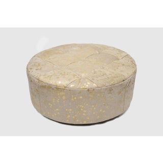 """Solly 24"""" White & Gold Ottoman Preview"""