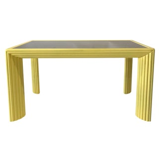 1970s Fluted Console / Desk With Glass Top