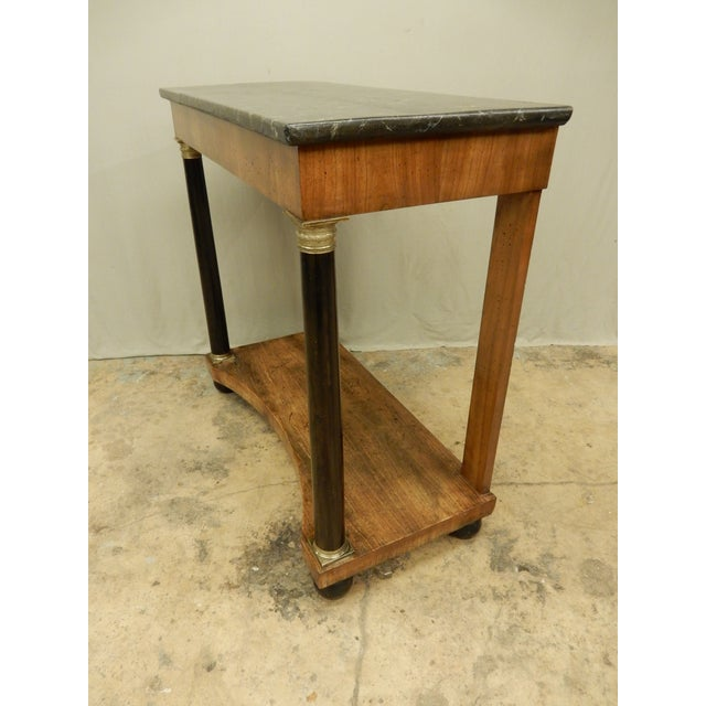 Neoclassical Italian Walnut/Faux Marble Top Console For Sale - Image 4 of 8