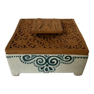 Vintage Italian Terra-Cotta Intaglio Trinket Box For Sale