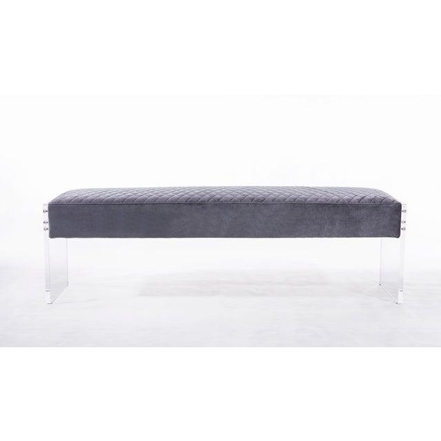 Contemporary Blink Home Velvet Bench For Sale - Image 3 of 5