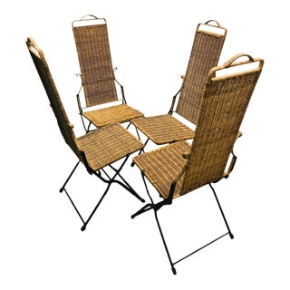 Vintage Rattan and Iron Pagoda Folding Dining Chairs - Set of 4 For Sale