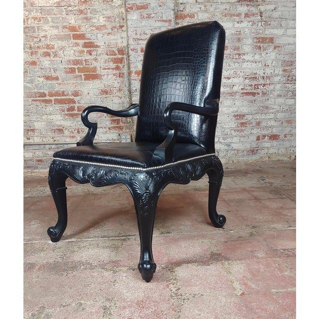 Ralph Lauren -Gorgeous Georgian Armchair w/Black Faux Alligator Leather Georgian style armchair with black faux alligator...