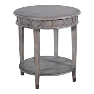 Anna Side Table Greige Antiqued Brass Solid w For Sale