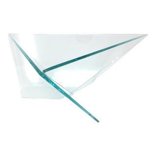 Vintage Postmodern Glass Triangle Decorative Bowl For Sale