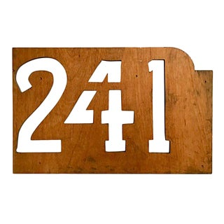 Vintage New York Wooden Stencil Numbers Sign For Sale