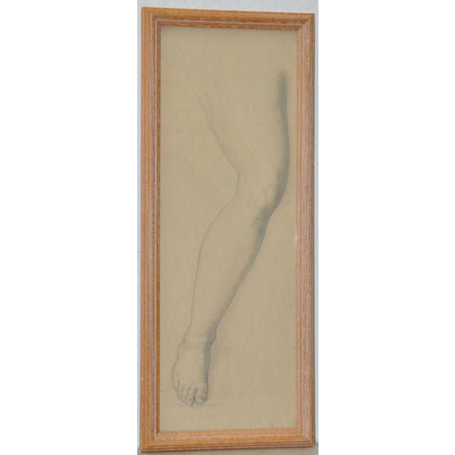 Vintage Study of a Leg and Foot Original Graphite Figure Drawing C.1960s For Sale In San Francisco - Image 6 of 6
