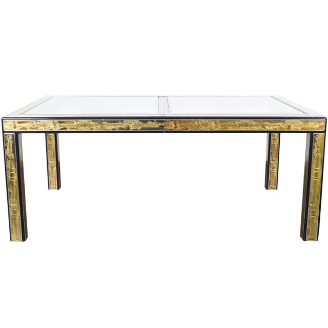 Vintage Etched Brass Dining Table by Mastercraft For Sale - Image 9 of 9