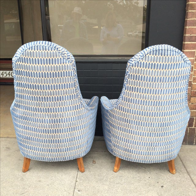 Hickory Cut Velvet Club Chairs - A Pair - Image 6 of 7