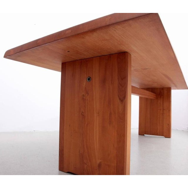 Rare Large Pierre Chapo T14D Dining Table in Elmwood, France, 1970s For Sale - Image 6 of 6