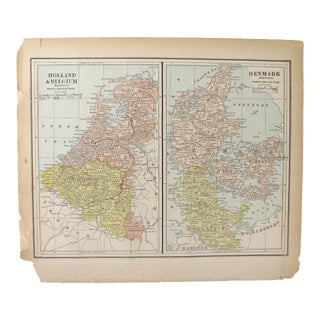 Antique Map of Holland, Belgium, Denmark, Sweden, & Norway C. 1880