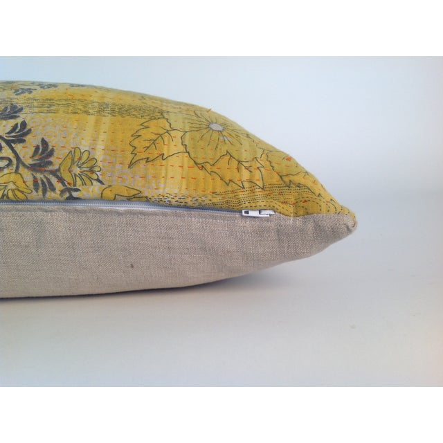 Vintage Yellow Kantha Quilt Pillows - A Pair For Sale - Image 4 of 4