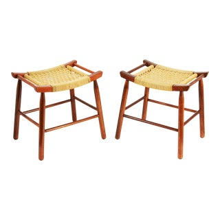 Pair of Danish Cord Low Stools For Sale