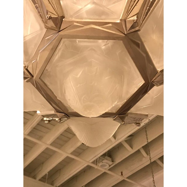 Silver Geometric French Art Deco Chandelier Signed by Des Hanots For Sale - Image 8 of 11