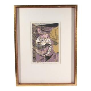 Tadashi Nakayama 1957 Japanese Signed Woodblock of a Child and Bird For Sale