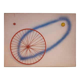 Albert Chubac Painting on Canvas, Airbrush, Iron and Wood, 1964