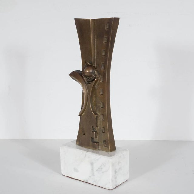 Mid-Century Modern Sculpture in Patinated Bronze and Marble by S. Monachesi For Sale - Image 4 of 10