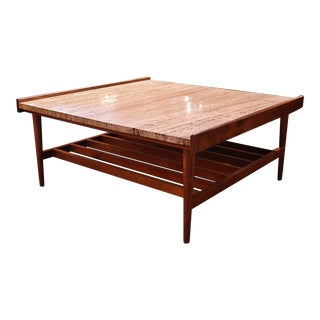 Mid-Century Modern Coffee Table With Travertine Top For Sale