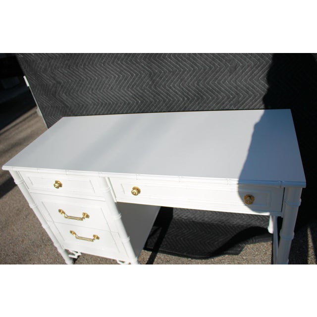 White 1970s Thomasville Allegro Faux Bamboo Desk For Sale - Image 8 of 11