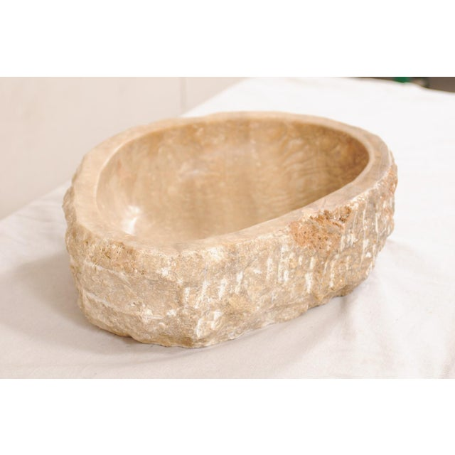 White Natural Carved Onyx Sink Basin in Taupe Color For Sale - Image 8 of 12