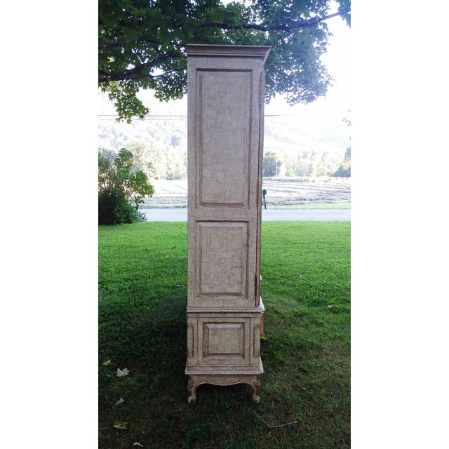 French 1990s French Bau Carved Aged White Crackle Painted Wardrobe For Sale - Image 3 of 13