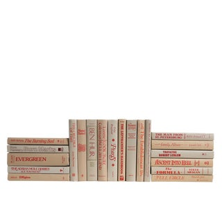 Retro Crimson on Khaki : Set of Twenty Decorative Books For Sale