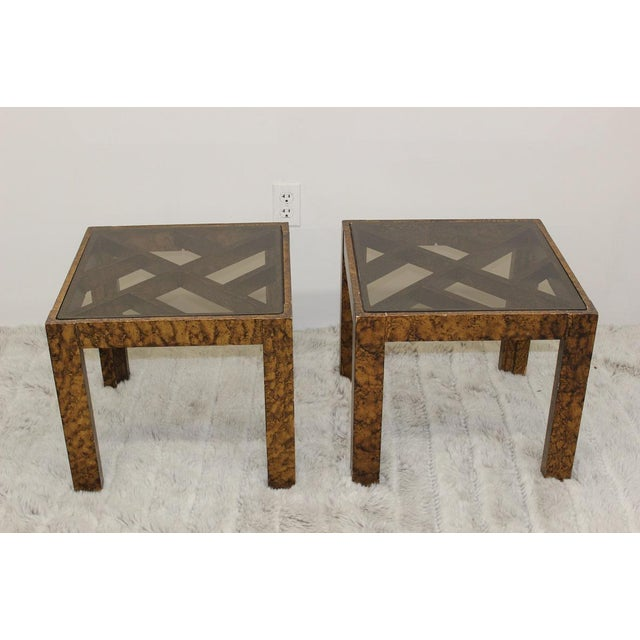 Mid Century Modern pair of end tables with glass tops For Sale - Image 10 of 10