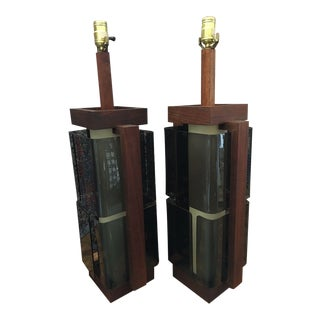 1960s Modernist Modeline of California Cubist Walnut and Smoked Plexi Lamps - a Pair For Sale