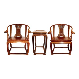 Vintage Ming Imperial-Style Chinese Rosewood Chairs and Tea Stand - Set of 3