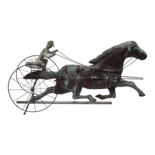 Sulky, Horse & Jockey Copper Weathervane For Sale